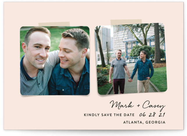 This is a landscape modern, pink Save the Dates by Hooray Creative called Two Become One with Standard printing on Smooth Signature in Classic Flat Card format. A simple 2 photo design.