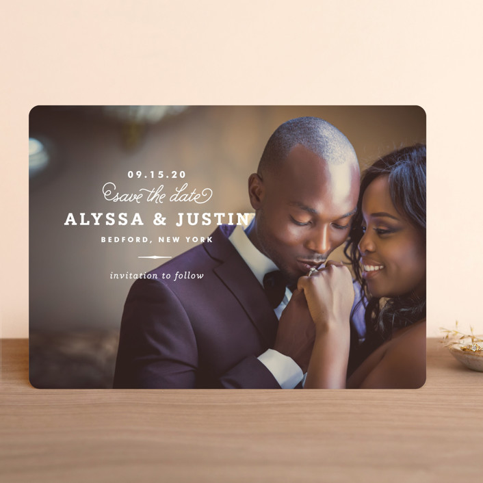"""Timeless"" - Save The Date Cards in White by Oscar & Emma."