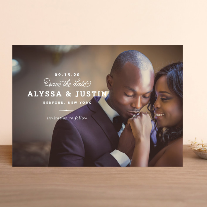 """""""Timeless"""" - Classical, Simple Save The Date Cards in White by Oscar & Emma."""