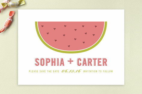 Watermelon Hearts Save The Date Cards