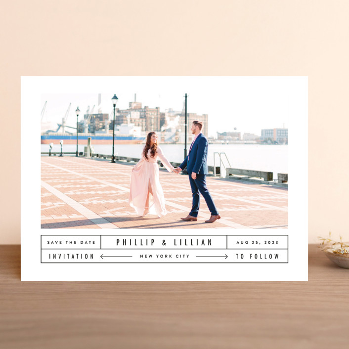 """""""Between The Lines"""" - Save The Date Cards in Blazer by Fine and Dandy Paperie."""