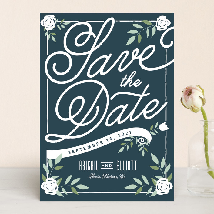 """""""Blushing"""" - Rustic Save The Date Cards in Kraft by Leah Bisch."""