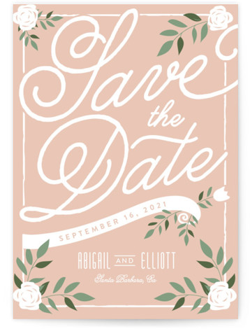 This is a portrait rustic, pink Save the Dates by Leah Bisch called Blushing with Standard printing on Signature in Classic Flat Card format. Pretty florals and script set the tone for an elegant affair.