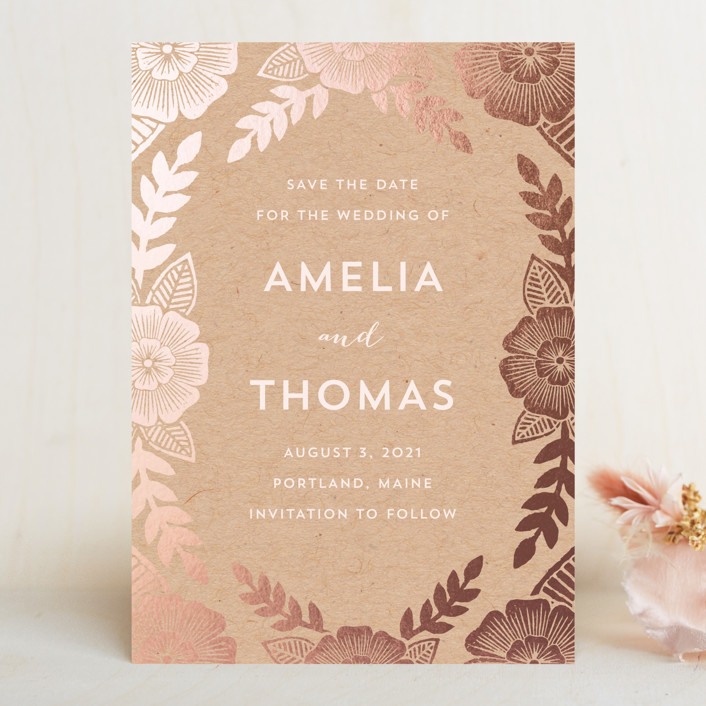 """Bold Floral"" - Save The Date Cards in Kraft by Katharine Watson."