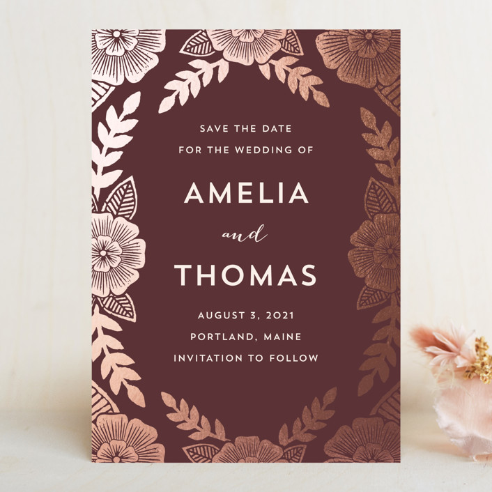 """Bold Floral"" - Save The Date Cards in Plum by Katharine Watson."