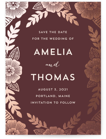 This is a portrait botanical, brown, red Save the Dates by Katharine Watson called Bold Floral with Standard printing on Signature in Classic Flat Card format. This card uses a hand block printed floral design that has been digitized to ...