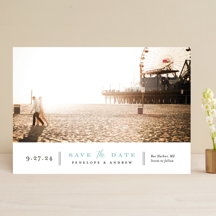 """Bottom Line"" - Save The Date Cards in Vanilla by Jennifer Wick."