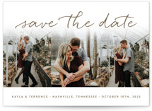 This is a brown save the date by Sara Hicks Malone called Showcase with standard printing on smooth signature in standard.