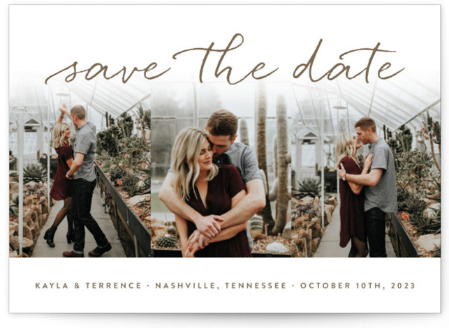 This is a landscape modern, brown Save the Dates by Sara Hicks Malone called Showcase with Standard printing on Smooth Signature in Classic Flat Card format. Sweet + stylish, with room for your favorite trio of pictures