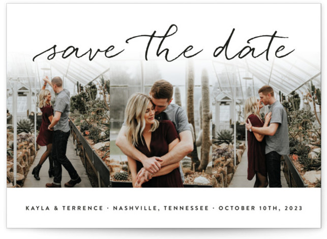 This is a landscape modern, black and white Save the Dates by Sara Hicks Malone called Showcase with Standard printing on Smooth Signature in Classic Flat Card format. Sweet + stylish, with room for your favorite trio of pictures