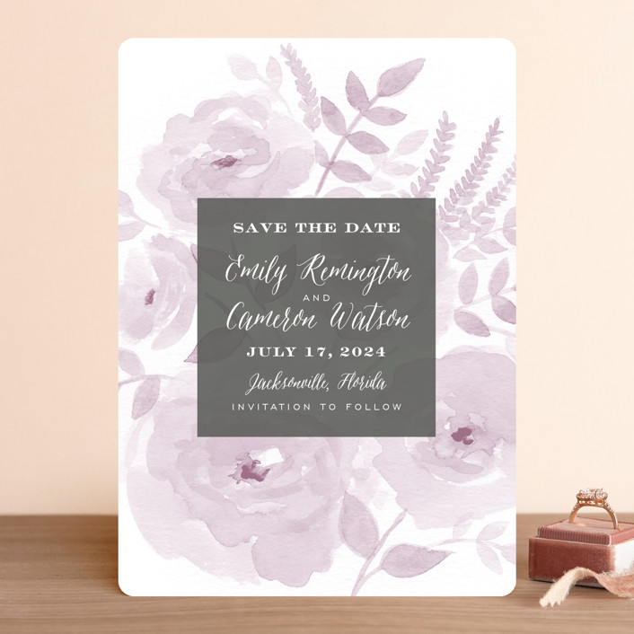 """""""Watercolor Floral"""" - Save The Date Cards in Lilac by Jill Means."""