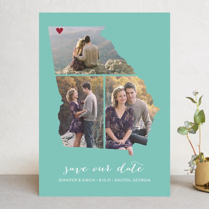 """Georgia Love Location"" - Save The Date Cards in Aqua by Heather Buchma."