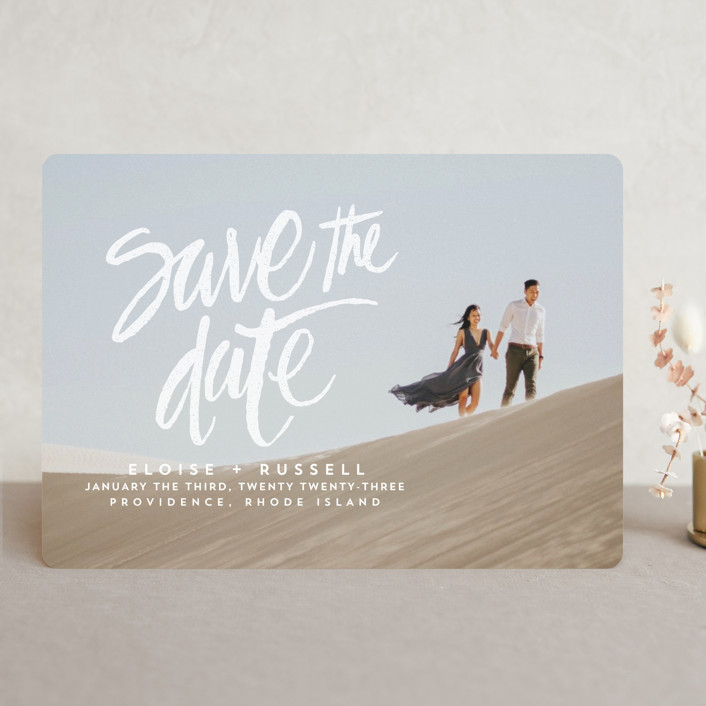 """""""Lovely Brush"""" - Full-Bleed Photo, Hand Drawn Save The Date Cards in Frost by Aspacia Kusulas."""