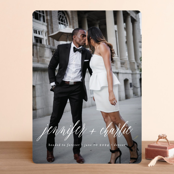 """""""Headed to Forever"""" - Save The Date Cards in Cloud by Susan Brown."""