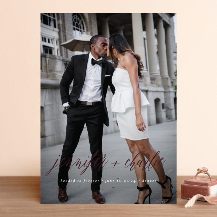 """""""Headed to Forever"""" - Classical, Minimalist Save The Date Cards in Cloud by Susan Brown."""