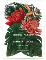 This is a green save the date by Elly called Tropical Bouquet with standard printing on signature in standard.