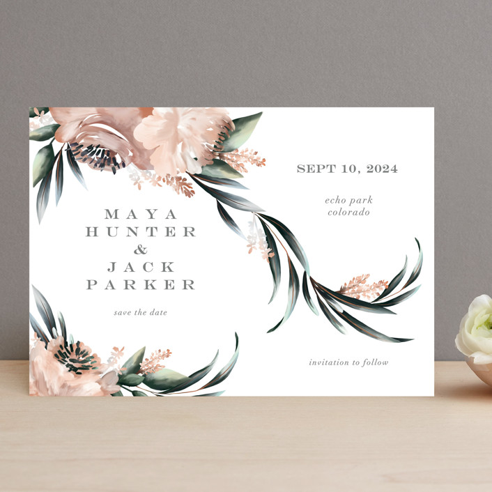 """Maya Rustica"" - Save The Date Cards in Rose by Petra Kern."