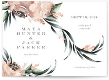 This is a green save the date by Petra Kern called Maya Rustica with standard printing on signature in standard.