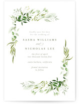 This is a green save the date by Leah Bisch called Verdure with standard printing on signature in standard.