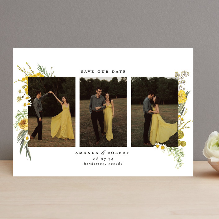 """Organic Florals"" - Save The Date Cards in Honey by Susan Moyal."