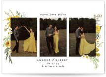 This is a yellow save the date by Susan Moyal called Organic Florals with standard printing on smooth signature in standard.
