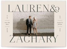 This is a beige save the date by Sandra Picco Design called Name Frame with standard printing on signature in standard.