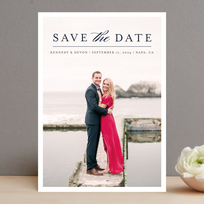 """""""Classic Save the Date"""" - Save The Date Cards in Platinum by Pine and Lark."""