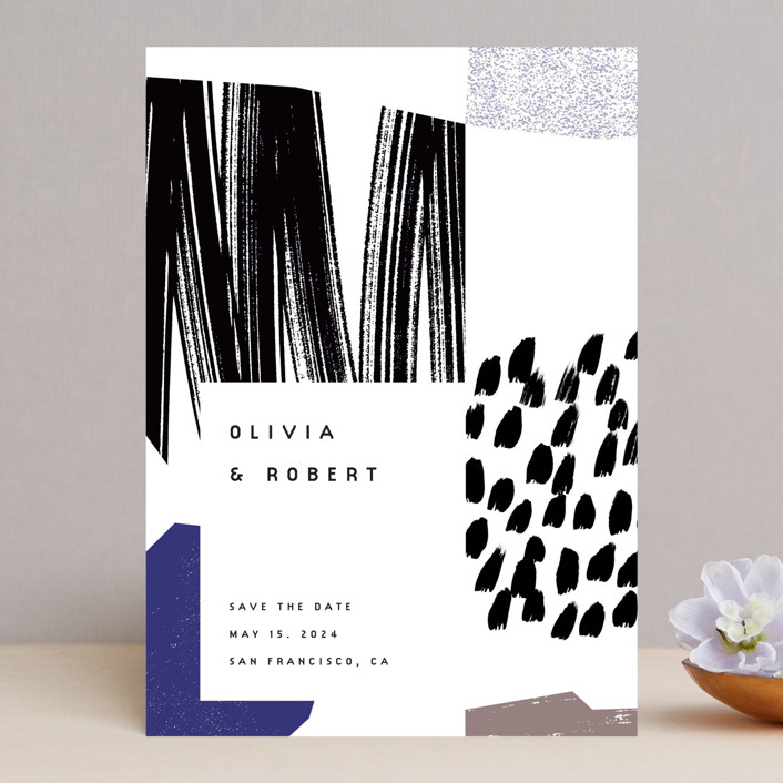 """""""Graphic"""" - Modern Save The Date Cards in Cobalt by Sumak Studio."""
