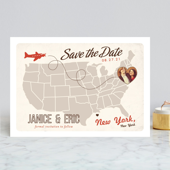 """Up and Away"" - Bold typographic, Destination Save The Date Cards in Tomato by leslie hamer."