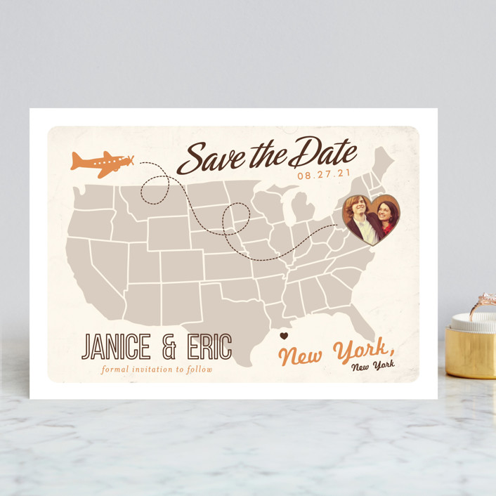 """""""Up and Away"""" - Save The Date Cards in Tomato by leslie hamer."""