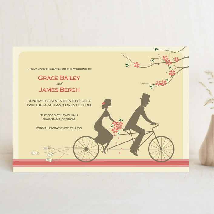 """Journey Together"" - Save The Date Cards in Buttercream by Letter19Design."