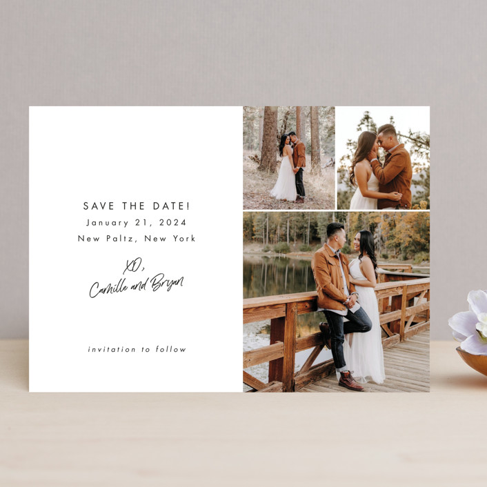 """""""Signed and Sealed"""" - Save The Date Cards in Snow by Sandra Picco Design."""