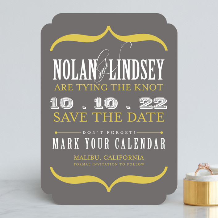 """""""Bold Brackets"""" - Modern Save The Date Cards in Slate by Teresa Lang."""