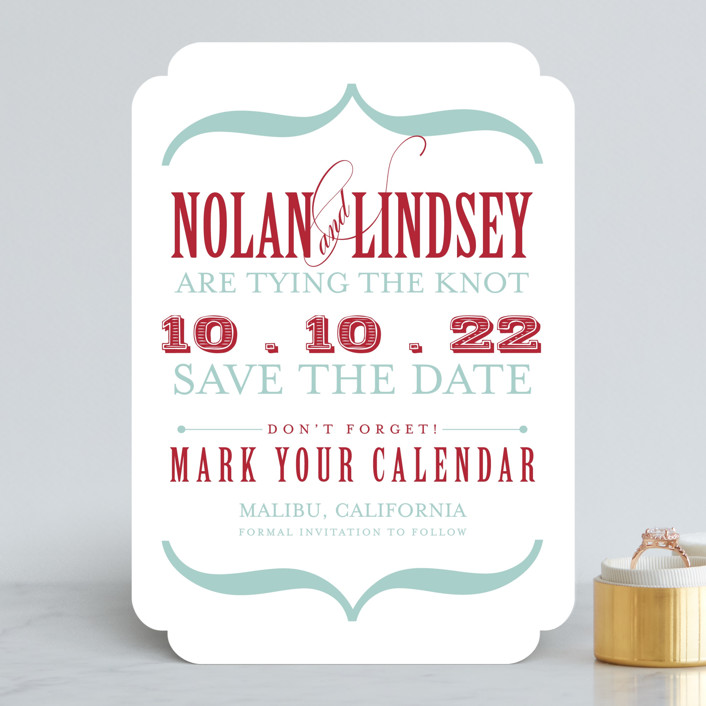 """Bold Brackets"" - Modern Save The Date Cards in Slate by Teresa Lang."
