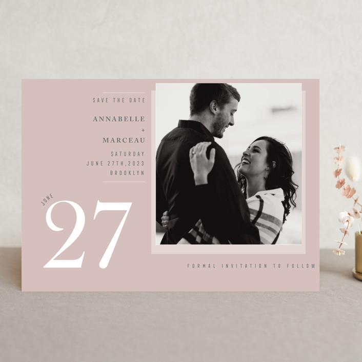 """""""A love date"""" - Save The Date Cards in Blush by Sejal Banker."""