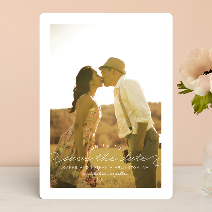 """""""Simply Timeless"""" - Full-Bleed Photo Save The Date Cards in White by Sandra Picco Design."""
