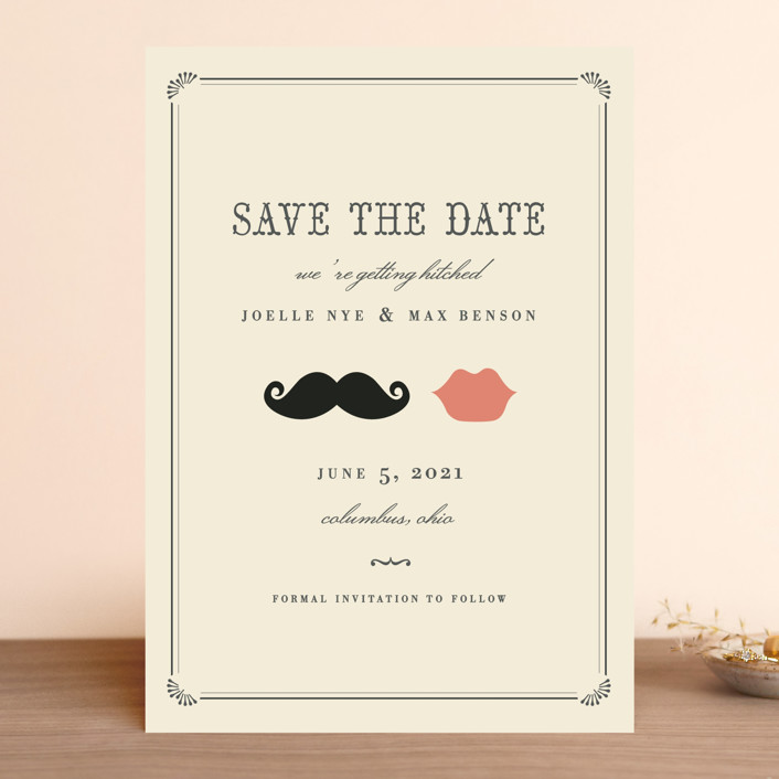 """Stache + Kiss"" - Whimsical & Funny, Vintage Save The Date Cards in Crème by Penelope Poppy."
