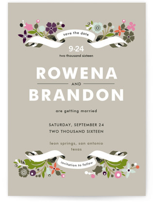 photo of Banner And Branches Save The Date Cards