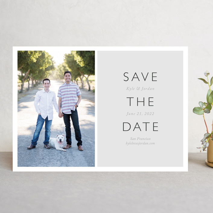 """Modern Date"" - Modern Save The Date Cards in Noir by Waldo Press."