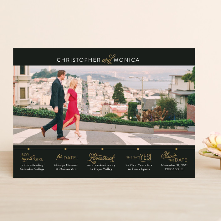 """Our Timeline"" - Save The Date Cards in Onyx by Jessie Steury."