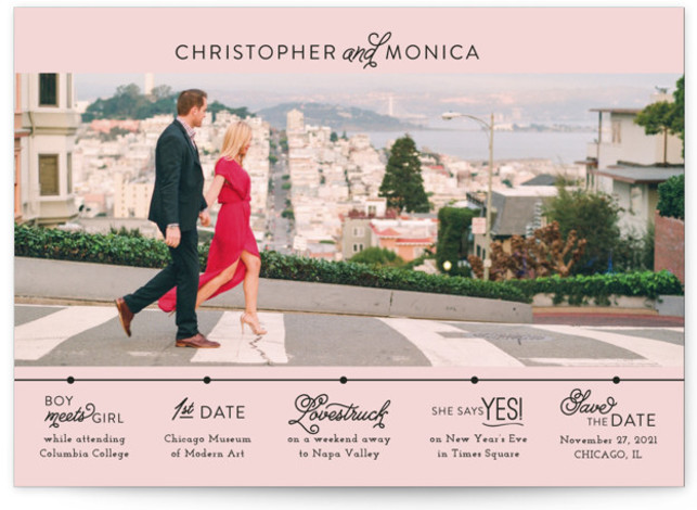 This is a landscape, portrait modern, pink Save the Dates by Jessie Steury called Our Timeline with Standard printing on Smooth Signature in Classic Flat Card format. This save the date features a unique timeline of events.