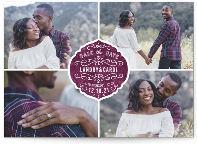 This is a landscape, portrait vintage, purple Save the Dates by Bonjour Paper called Festive Love with Standard printing on Smooth Signature in Classic Flat Card format. Announce your big day with this multiple photo save the date featuring a ...