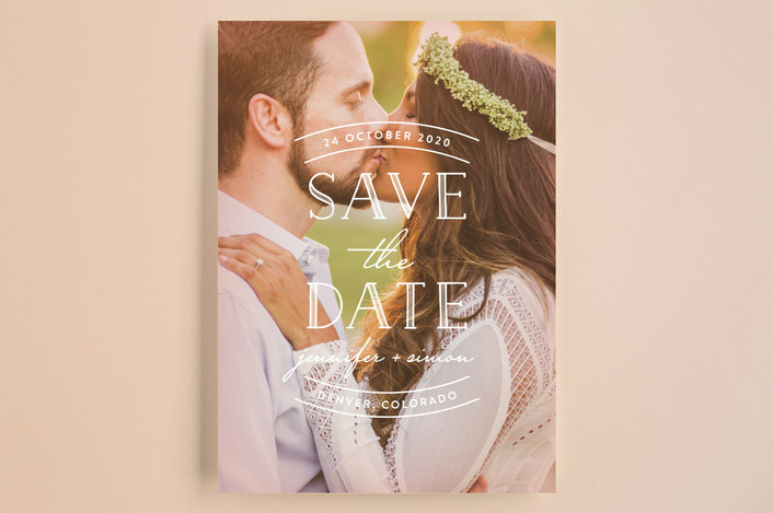 """""""Sweet Embrace"""" - Full-Bleed Photo, Bold typographic Save The Date Cards in Glow by Hooray Creative."""