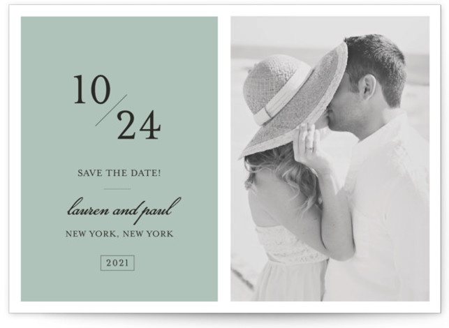 This is a landscape modern, blue Save the Dates by Sara Hicks Malone called Forever Classic with Standard printing on Signature in Classic Flat Card format. A fresh, elegant and classic way to announce your chosen day