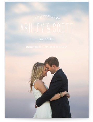 This is a landscape, portrait modern, white Save the Dates by Sandra Picco Design called Sweetest with Standard printing on Smooth Signature in Classic Flat Card format. A simple, clean design with modern typography shows off your favorite engagement photo. ...