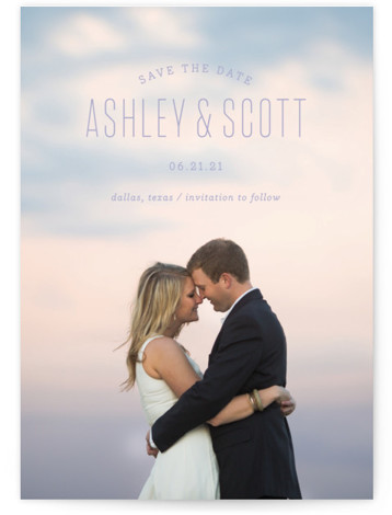 This is a landscape, portrait modern, purple Save the Dates by Sandra Picco Design called Sweetest with Standard printing on Smooth Signature in Classic Flat Card format. A simple, clean design with modern typography shows off your favorite engagement photo. ...