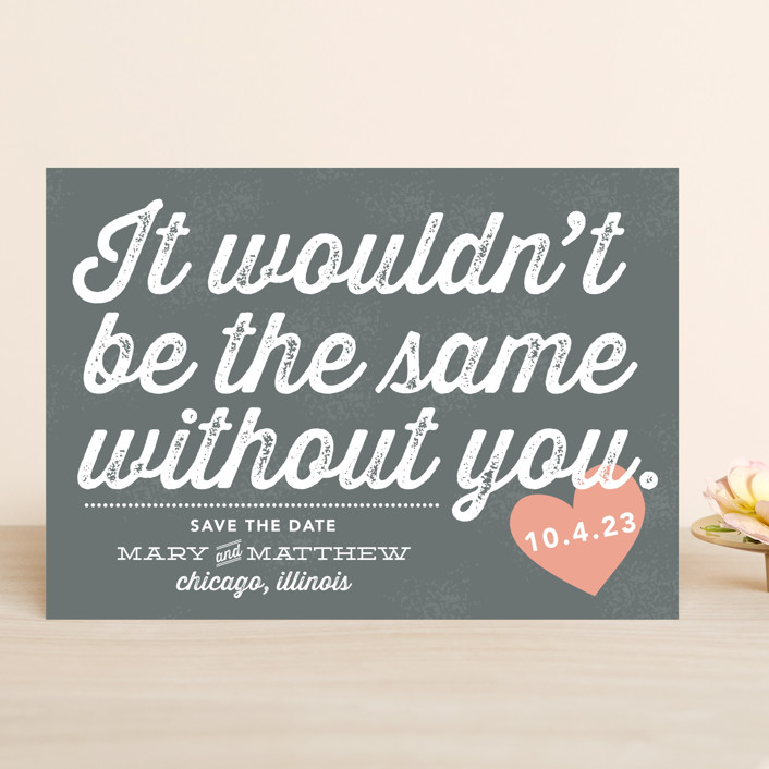 """""""Without You"""" - Save The Date Cards in Peach by Olive and Violet."""