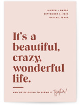 This is a pink save the date by Jessica Corliss called A Wonderful Life with standard printing on signature in standard.