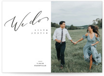 This is a white save the date by Owl and Toad called Graceful with standard printing on signature in standard.
