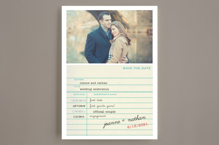 library card save the date cards in teal by simplete design